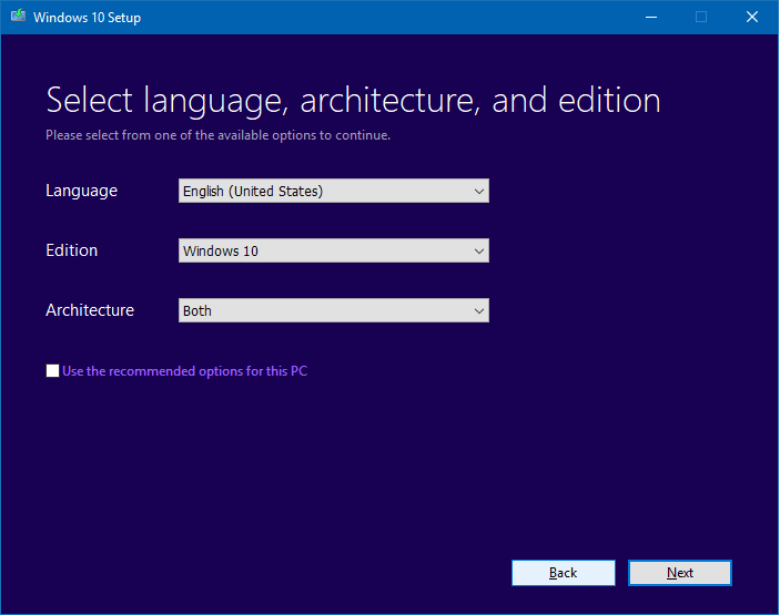 media creation tool - download windows 10 iso, usb installation media