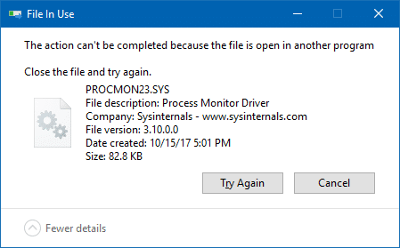 Unable to write PROCMON23.SYS