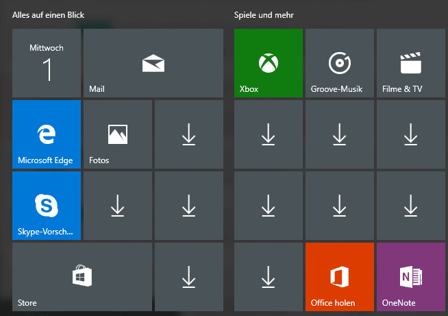 Start menu app icons missing