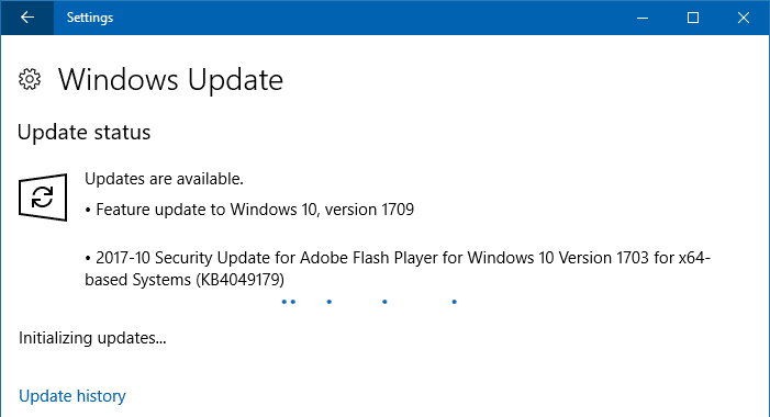 windows 10 Fall Creators Update Available WU