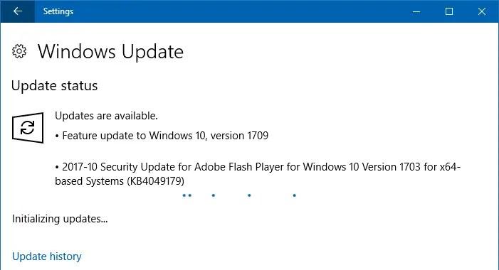 windows 10 Fall Creators Update Available WU