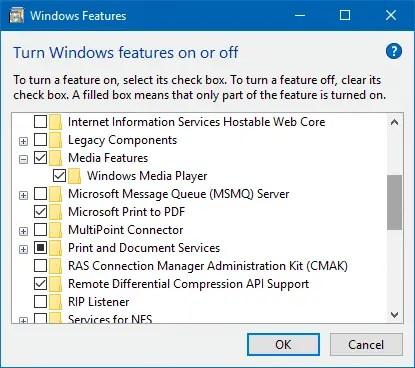 windows media player in fall creators update