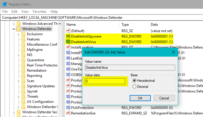 disableantivirus and disableantispyware values set to 0