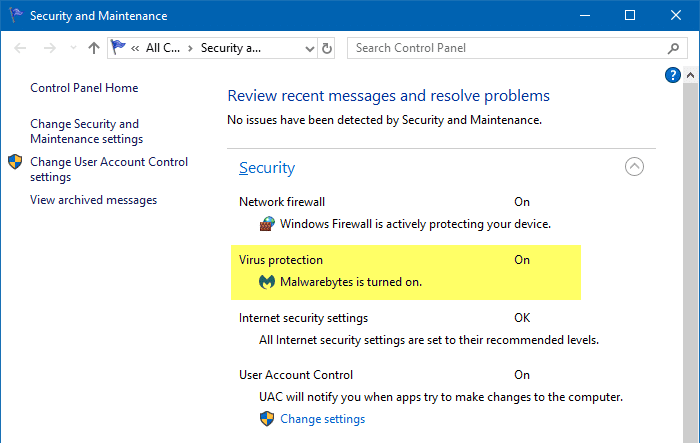 windows defender disabled by malwarebytes premium