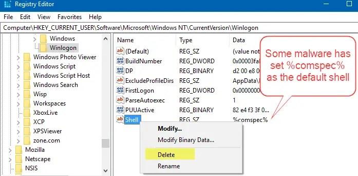 Black Screen and Command Prompt Open at Logon - No Explorer