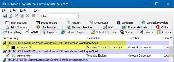 shell explorer.exe comspec malware autoruns