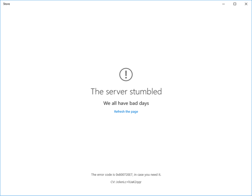 windows store: the server stumbled