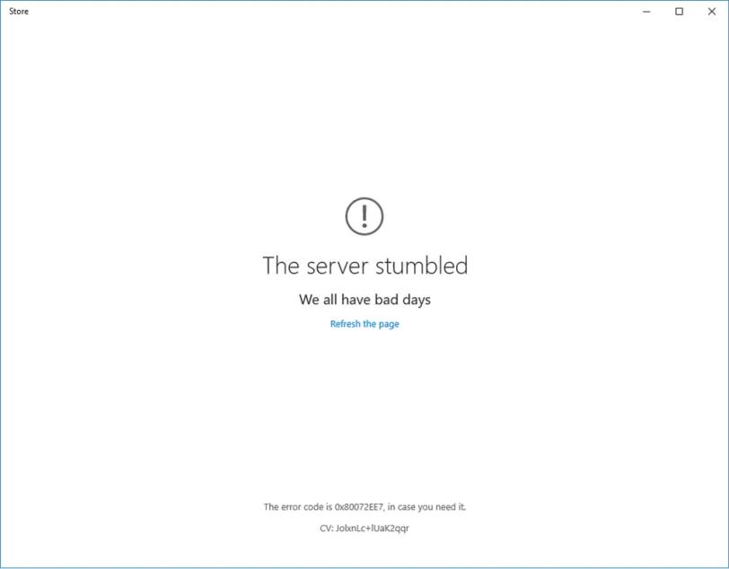 windows store: the server stumbled