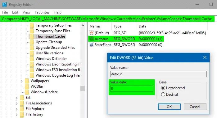 disk cleanup thumbnail cache autorun disable