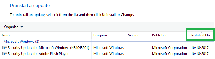 uninstall windows update via programs and features