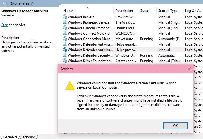 Fix: Windows Defender Error 577 | Service Fails to Start » Winhelponline