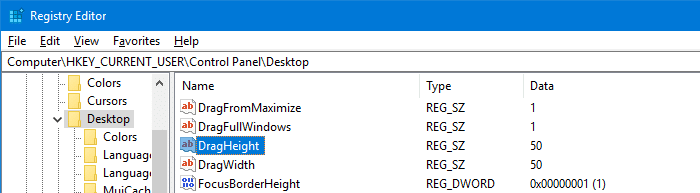 dragheight dragwidth registry pixels