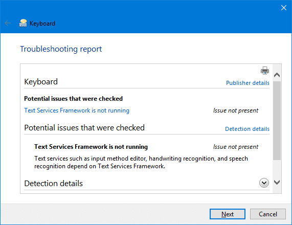 keyboard not working text services framework ctfmon