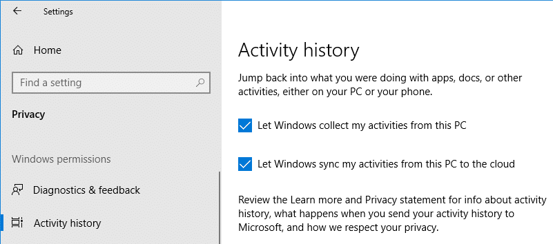 windows 10 timeline feature activity history privacy settings