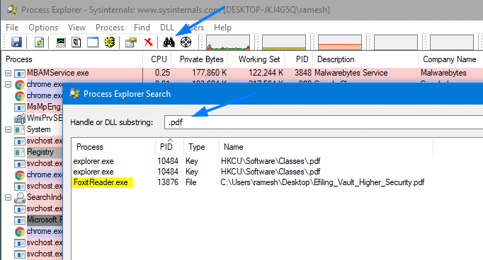process explorer find locked files process
