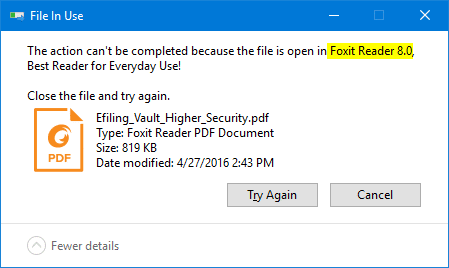 file in use - showing program name locked the file