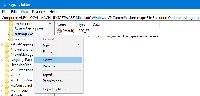 taskmgr.exe cannot be found error - debugger registry value