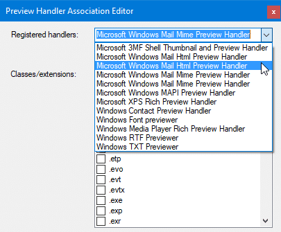 preview handler association editor - windows mail mime handler