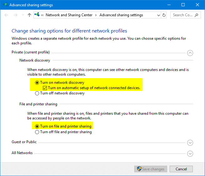 advanced sharing settings in windows 10 - all networks