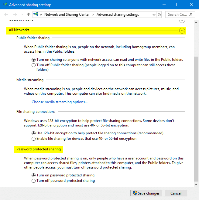 advanced sharing settings in windows 10
