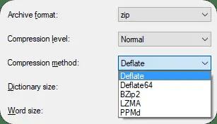 zip compression methods algorithms
