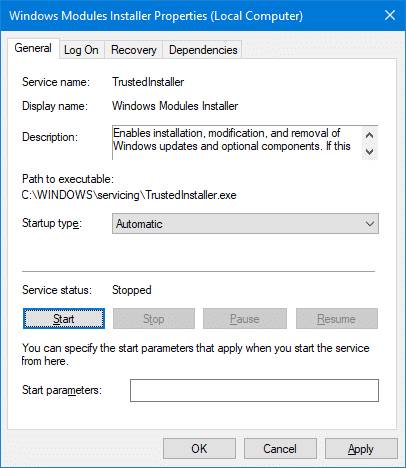 windows modules installer automatic start
