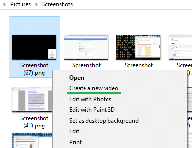 """create a new video"" context menu"