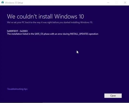 windows update error 800f081f - 0x20003 with developer mode enabled