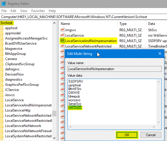 fix for services error 1083 and 1053 - windows registry editor