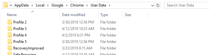 chrome user data profile folder names - profile 1 - profile 2