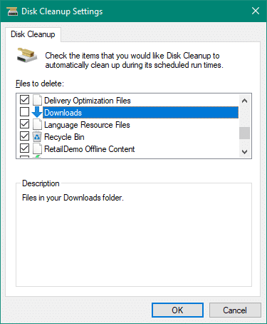 disk cleanup downloads folder