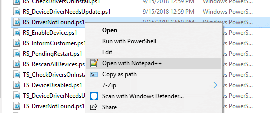 Notepad++ right-click menu in Windows