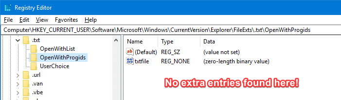 remove unwanted entries in open with menu and dialog - openwithprogids