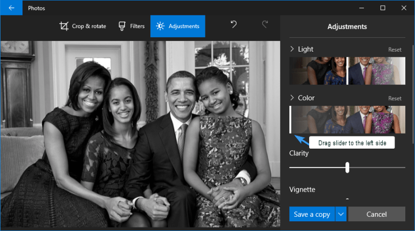 change picture to black and white photos app windows 10