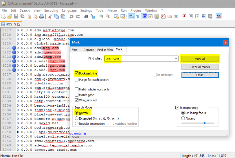 remove lines containing a word or string in a text file