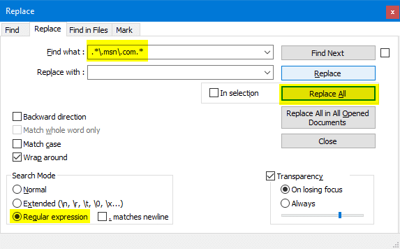 remove lines containing a word or string in a text file using regex