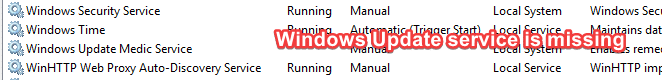 windows update service missing in the list