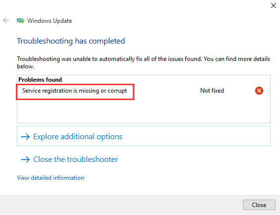 windows update service registration missing - troubleshooter