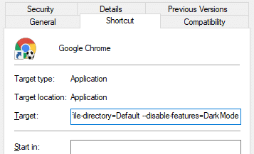 Force Chrome to Always start in Light or Dark mode regardless of Windows 10 app mode setting