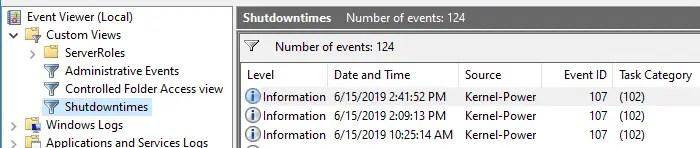 eventvwr error custom views xml