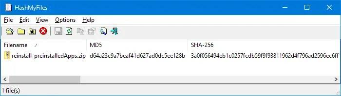 get file hash via the right-click menu - hashmyfiles