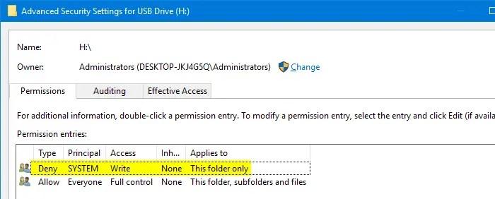 Prevent System Volume Information Creation on USB Pen Drives
