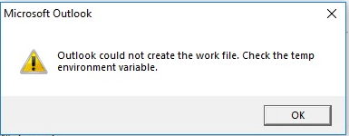 outlook cannot create a work file