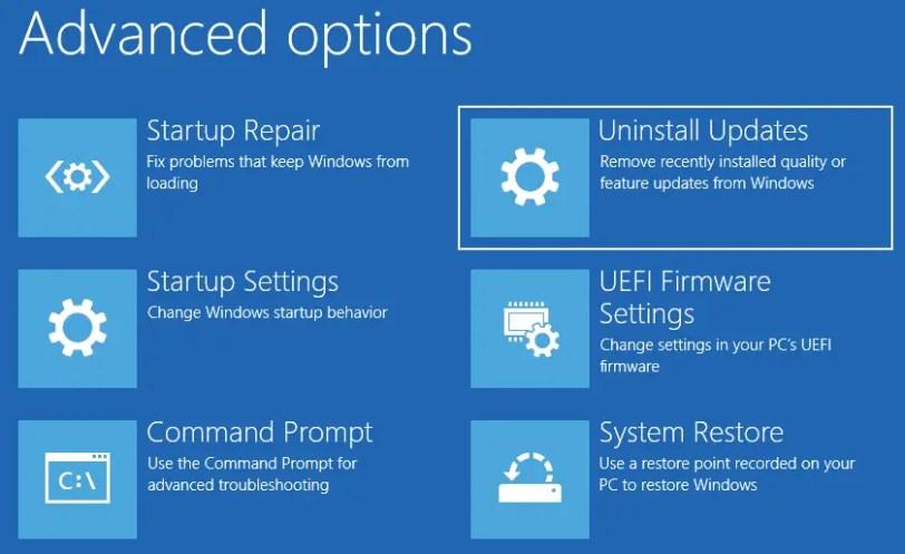 How to Uninstall a Windows 10 Update Offline via Windows RE