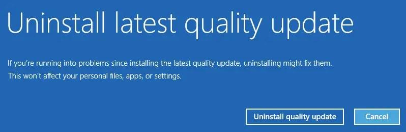 uninstall windows 10 update offline