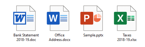 word .docx and .doc files show generic white icon