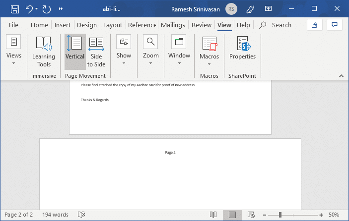 Set Landscape for a Single Page in a Word Document » Winhelponline