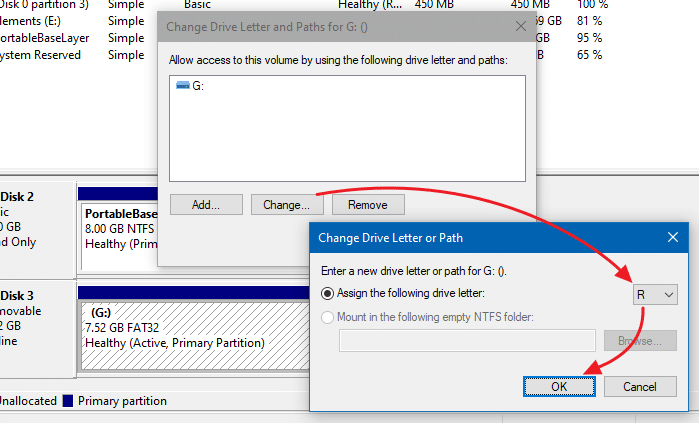 assign same drive letter for a external drive - windows