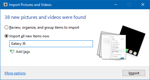import pictures and videos autoplay windows 10
