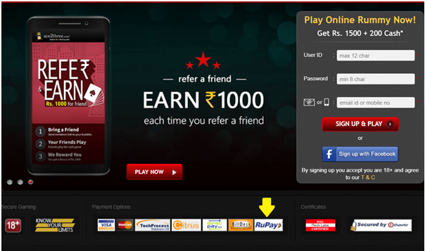 Online casino that accept RuPay